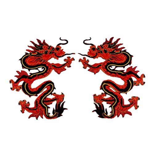 2x Chytaii Parche Bordado Apliques Parche Encaje Bordado Costura DIY Cuello Escote Accesorios de Vestir Forma de Dragón Rojo Un Par de Dos