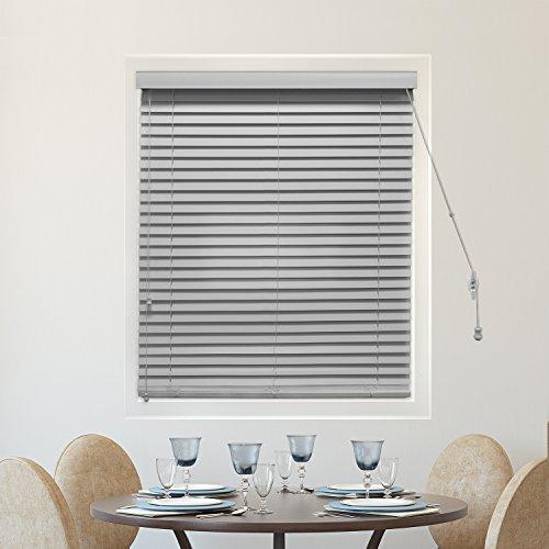 CHICOLOGY Faux Holz Jalousien/Fenster Horizontal 2venezianischen Lamellen, Faux Holz, variable Licht Control–einfach weiß, 58,4cm W x 162,6cm H, Simply Pewter (Faux Wood), 30