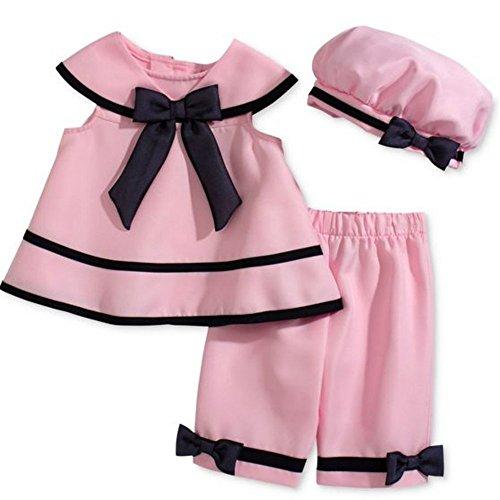 Rare Editions Baby Mädchen Sailor Matrosen Kleid + Hut + Hose Rosa (Sailor Hut Baby)