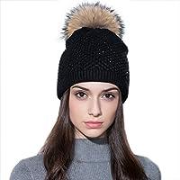 Ferand Berretto invernale per donne in Pelliccia di Procione Cappello Pon Pon con Cristalli