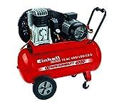 Einhell Kompressor TE-AC 480/100/10 D (3,0 kW, 100 L, Ansaugleistung 480 l/min, 10 bar, ölgeschmiert, Riemenantrieb, große Räder und Haltebügel)