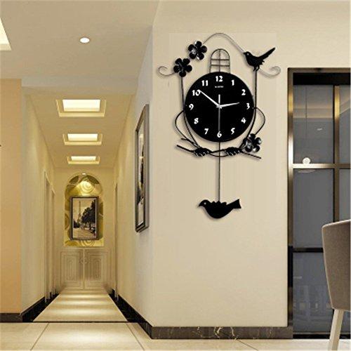 AISSION Wall Clock Kreative Wanduhr pastorale Schlafzimmer Wohnzimmer Wanduhr Rocking Bird Wecker 39