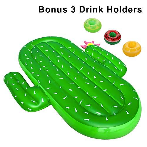 ThinkMax Flotador Cactus, Gigantes Inflable Flotadores Piscina para Adultos y niños con 3 portavasos, Juguete de Verano para Piscina