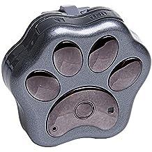 Portable lindo perro pata patrón perro gato Collar Pet GPS + Localizador WiFi resplandor Contra la pérdida diaria vida impermeable en tiempo real de seguimiento Tracker control remoto con cordón Oscuro Gris