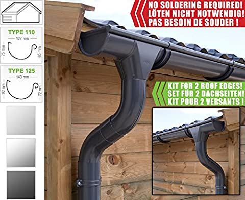Zinc guttering kit for gabled roof (2 roofsides)   in titanium zinc/ galvanised/ anthracite! Ideal for summer house or log cabin! (All-in-one kit up to 10,20 m [type 110], Anthracite