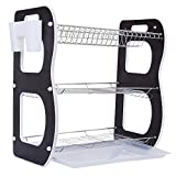 #3: kurtzy® 3 Tier wooden sides Chrome Plated Stainless Steel Dish Drainer Crockery Cutlery Plates Rack Organiser Holder Drip Tray