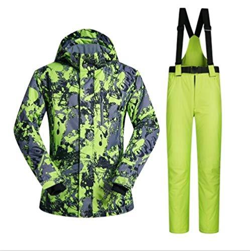 ZYJANO Skianzug Men Ski Suit Winter Brands Windproof Waterproof Warmth Snow Jackets and Pants Men Skiing and Snowboarding Suits,LvDiTu and Green,XL