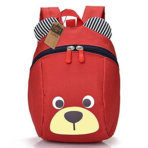 Kinderrucksack TEAMEN® Anti verloren Kinder Rucksack Mini Bär Schule Tasche für Baby Jungen Mädchen Kleinkinder 1-3 Jahre (Rot) Oxford 2 Tasche