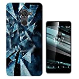002714 - Cracked Blue Glass Illusion Design Vodafone Smart