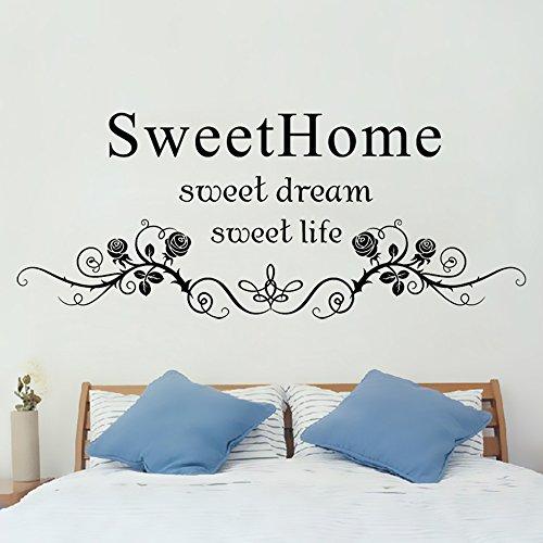 Winhappyhome Sweet Home Wall Art adesivi per camera da letto soggiorno bar sfondo rimovibile Decor decalcomanie, Vinile, A