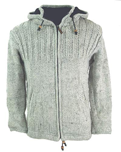 Guru-shop, cardigan giacca lana cardigan giacca nepal - grigio pietra, dimensione indumenti:m, giacche e poncho