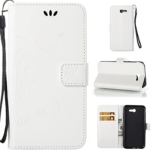 Solid Color Faux Leder Bookstyle Brieftasche Stand Case mit geprägten Flower & Lanyard & Card Slots für Samsung Galaxy J7 2017 American Edition ( Color : Gray ) White