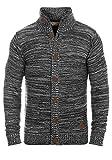 !Solid Mahir Herren Strickjacke Cardigan Grobstrick mit Stehkragen aus 100% Baumwolle Meliert, Größe:XL, Farbe:Black (9000)