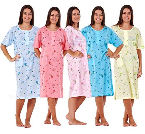 Ladies Women Nightwear Crew Neck Button Floral Print Short Sleeve POCKET Nightie - 51LHRkI08IL - Ladies Women Nightwear Crew Neck Button Floral Print Short Sleeve POCKET Nightie