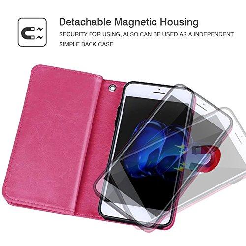 Custodia a portafoglio con porta carte di credito, blu, For iPhone 6 Plus/6s Plus Rosso