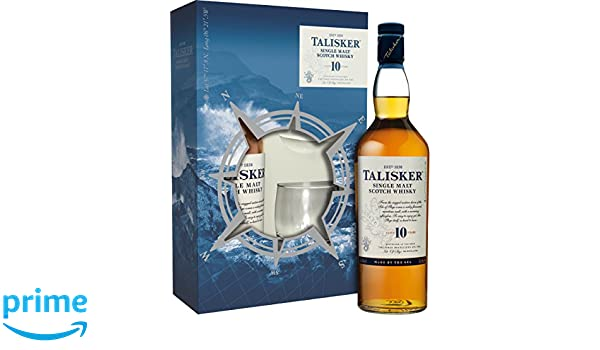 f6cb60cf9 Talisker 10 Year Old Single Malt Scotch Whisky with Limited Edition Gift  Pack including Two Rocking Glasses