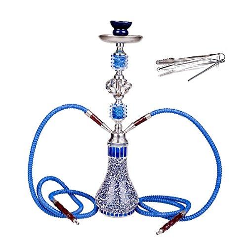 NOVESTE Shisha 55 cm 2 Manguera Hookah Cachimba Narguile agua tubo vidrio fumar (Azul)