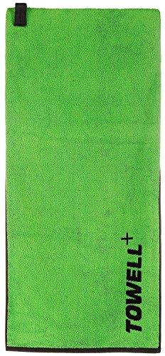 Towell Plus Handtuch mit Tasche und Magnetclip, Bekannt aus Die Höhle der Löwen Sporthandtuch, Grün, One Size