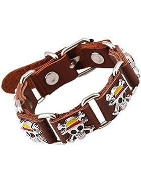 adiasen 1handgefertigt Rindsleder Leder Vintage Legierung Punk Totenkopf Armband Armband für Frauen Herren Junge...