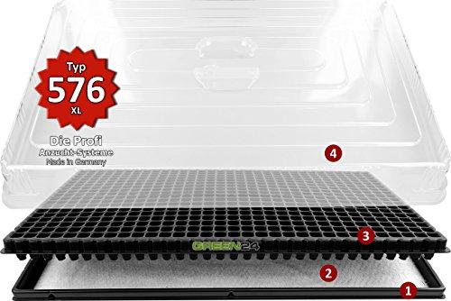 GREEN24 Hydroponik 576 Zimmergewächshaus XL mit automatischer Bewässerung Anzucht-Haus Profi Zimmer Gewächshaus