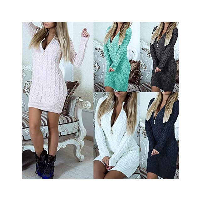 ... Mini Robe Moulante, GreatestPAK Femmes Sexy tricotées Fermeture éclair  col en V Manches Longues Pull 2f3dc091c48a