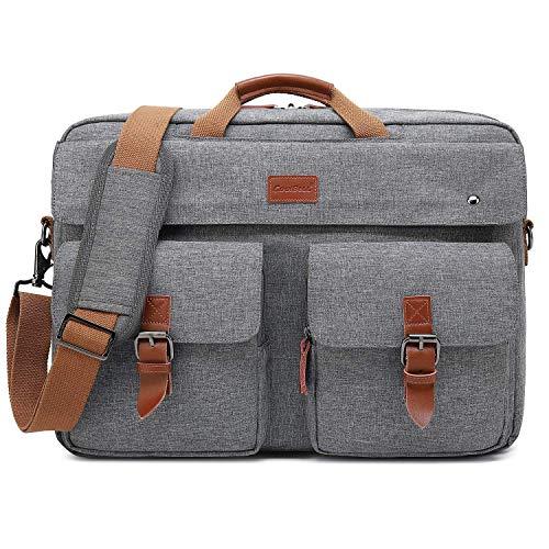 CoolBell Messenger Bag Herren Umhängetasche Business Aktentasche umwandelbar Laptop Tasche Bag Multifunktions Reise Rucksack Notebook Schultertasche Passend für 17 Zoll Laptop(Grau) - Computer-netzkabel 12