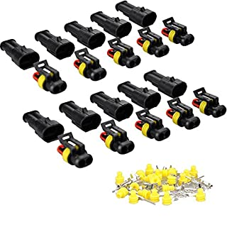 10 Set 5 Kit Car 2 Pin Way Superseal Waterproof Electrical Terminal Wire Connector Plug for Motorcycle Scooter Auto Truck Marine MA478