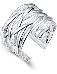 """fjyouria mujeres de """"X Criss Cross de tamaño ajustable abierta la eternidad anillo Twist cuerda anillo de dedo de banda ancha chapado en plata"""