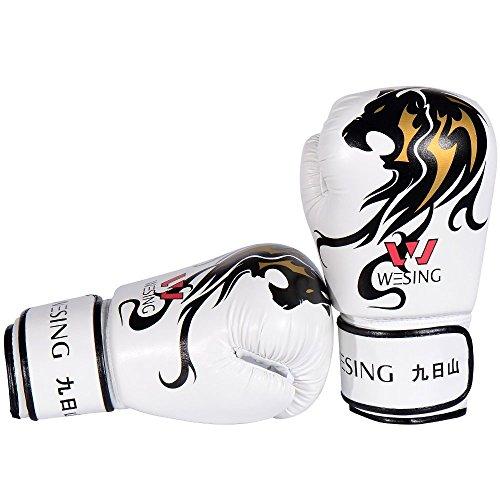 Professionelle Boxen PUNCH Tasche Handschuhe Stanzen Handschuhe von Wesing (Weiß, 8OZ) (Frauen Handschuhe Leder Tasche)