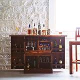 Santosha Decor Sheesham Wood Bar Cabinet Rack Hard and Soft Drinks Storage Cabinets Sheesham Wood Furniture Wine Wisky Scotch All Type Drinks Bar Cabinet for Living Room (Honey Oak Finish)