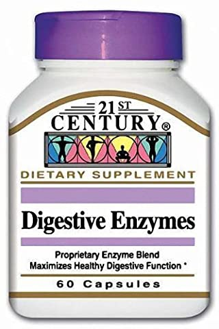 21st Century Health Care, Verdauungsenzyme mit Protease, Amylase, Lipase, Cellulase x60caps - Digestive Enzymes