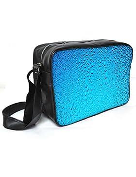 Snoogg blau Wasser Tropfen Leder Unisex Messenger Bag für College Schule täglichen Gebrauch Tasche Material PU