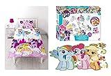 Bundle de lit pour enfant Mon Petit Poney–Parure de lit simple, mur puzzle et couleur votre propre Gel Stickers
