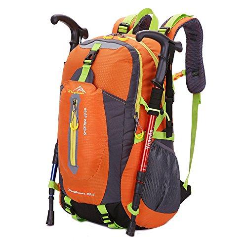 CrazySell Keep walking impermeabile 40L Outdoor viaggio escursionismo ciclismo All Sport all' aria aperta zaino da campeggio zaino, arancione