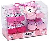 Brubaker 4 Paar Babysocken Mädchen 0-12 Monate - Katzen Pink/Rosa