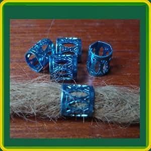 5 Blue Dreadlock cuffs, beads
