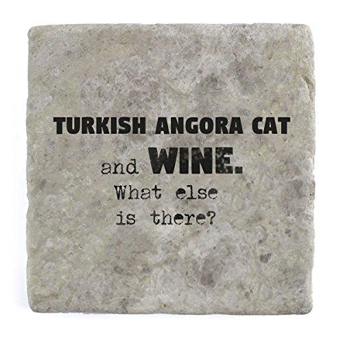Turco gato de Angora y vino ¿Qué más hay?–Mármol Azulejo posavasos de bebida