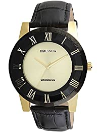 Timesmith Premium Limited Edition Gold Dial Black Leather Strap Branded Anaog Watch For Men TSM-136