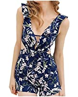 Tootlessly Women's Floral Printed Backless Splice Low-out Jumpsuit Romper AS1 M
