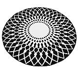 CivilWeaEU Stylish Schwarz-Weiß-Runde Teppich Wohnzimmer Couchtisch Großer Teppich (Farbe : Schwarz, größe : 100CM)