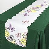 Tischläufer Tischdecke OSTERWIESE / 32x174 cm / weiß / Ostern