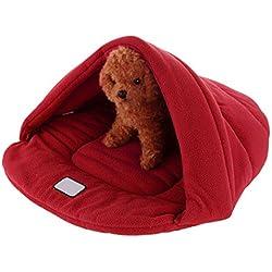 MIOIM Mascotas Perro Gato jerarquía del animal doméstico Cama caliente suave Cave House Saco de dormir de la estera del cojín S M L (Rojo, M(44*39*18cm))
