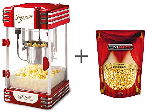 Smart Kettle Popcorn Maschine Bundle mit gratis Beutel Gourmet Popping Corn – Retro Gourmet Popcorn Maker – Wasserkocher (groß 113 g) Öl-Popcorn Druckknopf – Retro Rot RKP530