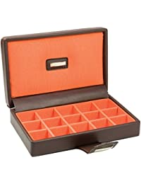 Dulwich Brown Leather with Orange Lining 15 Piece Cufflinks Box