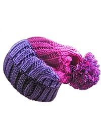 LADIES WOMENS 4 COLOUR STRIPE CHUNKY RIB SLOUCH BOBBLE HAT