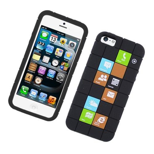 Eagle Zelle Handy Fall für Apple iPhone SE/5/5S-Retail Verpackung-Checker Schwarz