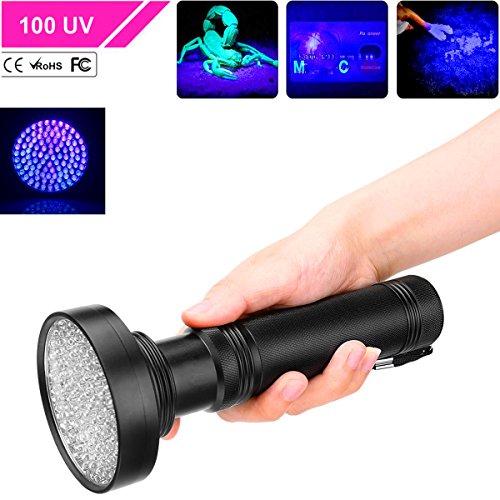 UV Taschenlampe, FTUNG Ultraviolett LED UV Taschenlampe mit 100 LEDs 395nm, Ultraviolet Lampe als Hund Katze Urinflecken Detektor Geldscheinprüfer Fleckendetektor für Fluoreszierend Stoffe