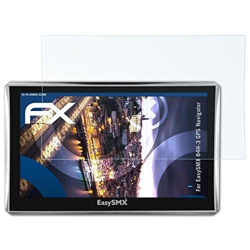 atFoliX EasySMX 84H-3 GPS Navigator Film Protecteur - 3 x FX-Shock-Clear absorbant les chocs ultra clair Anti-choc Film Protecteur