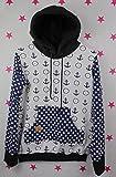 pinkeSterne ☆ Pullover Junge Pulli Hoodie Wunschgröße Kragenpulli Stickerei Anker Maritim Blau Schwarz Punkte