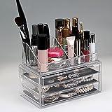 Homdox Acryl Kosmetikorganiser Transparent Kosmetik Aufbewahrung Makeup Organizer mit Schubladen (3 Schichten mit 3 Schubladen)
